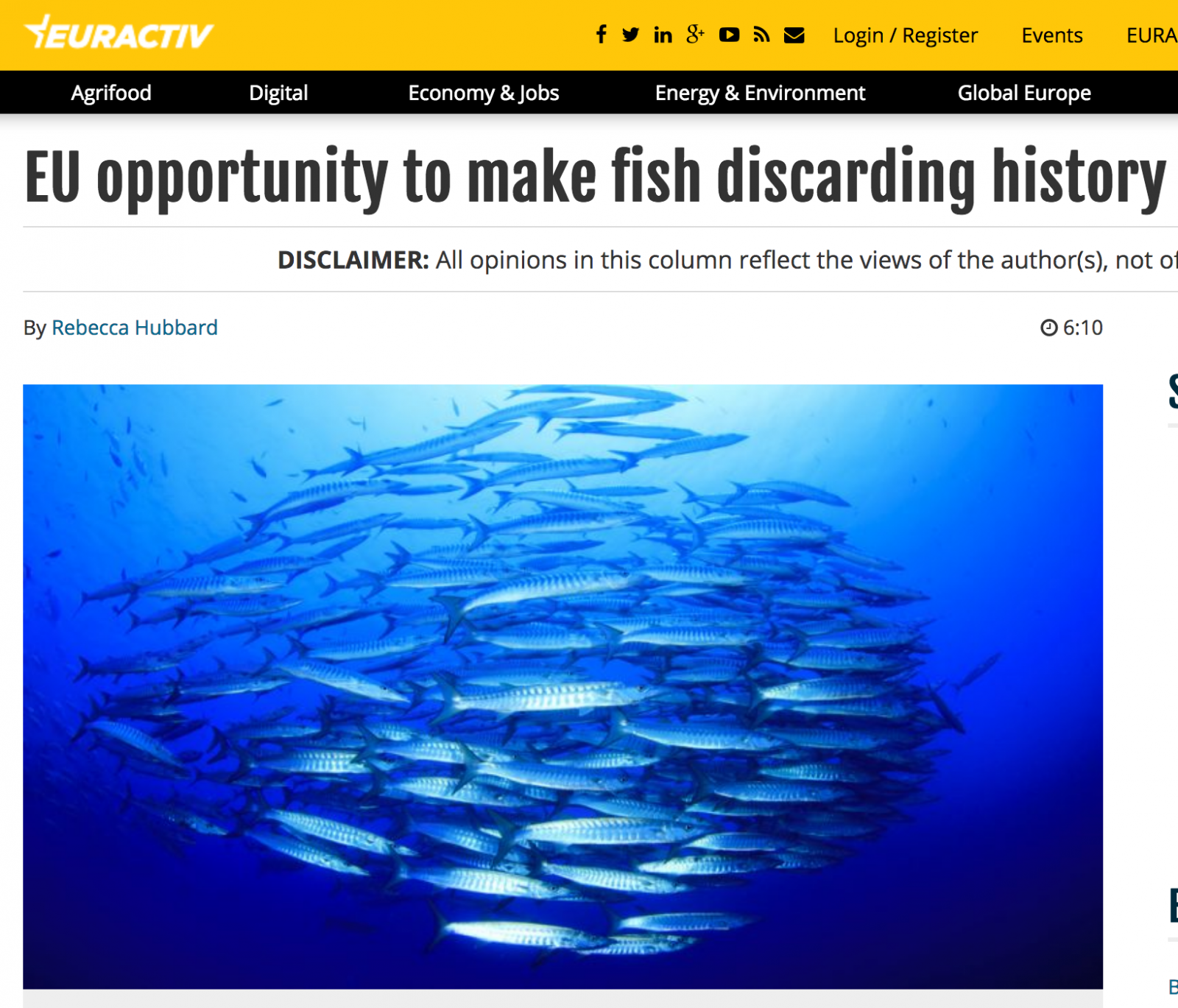Euractiv: EU opportunity to make fish discarding history