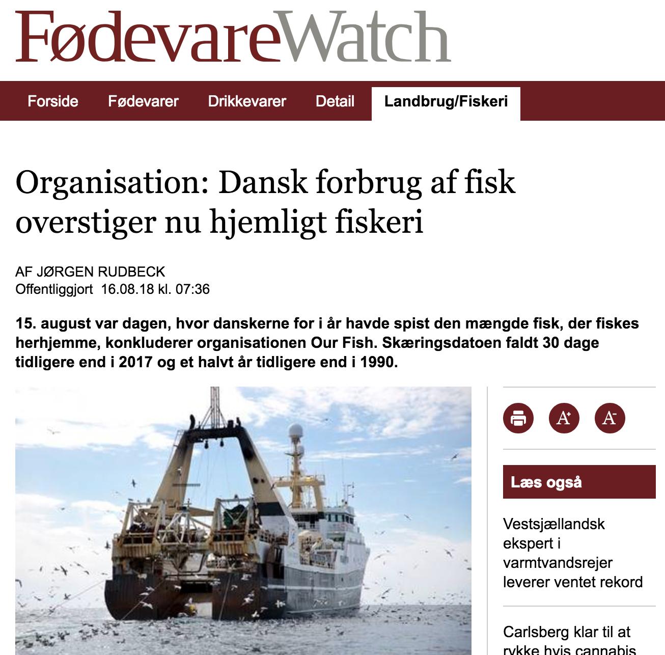 Organisation: Dansk forbrug af fisk overstiger nu hjemligt fiskeri