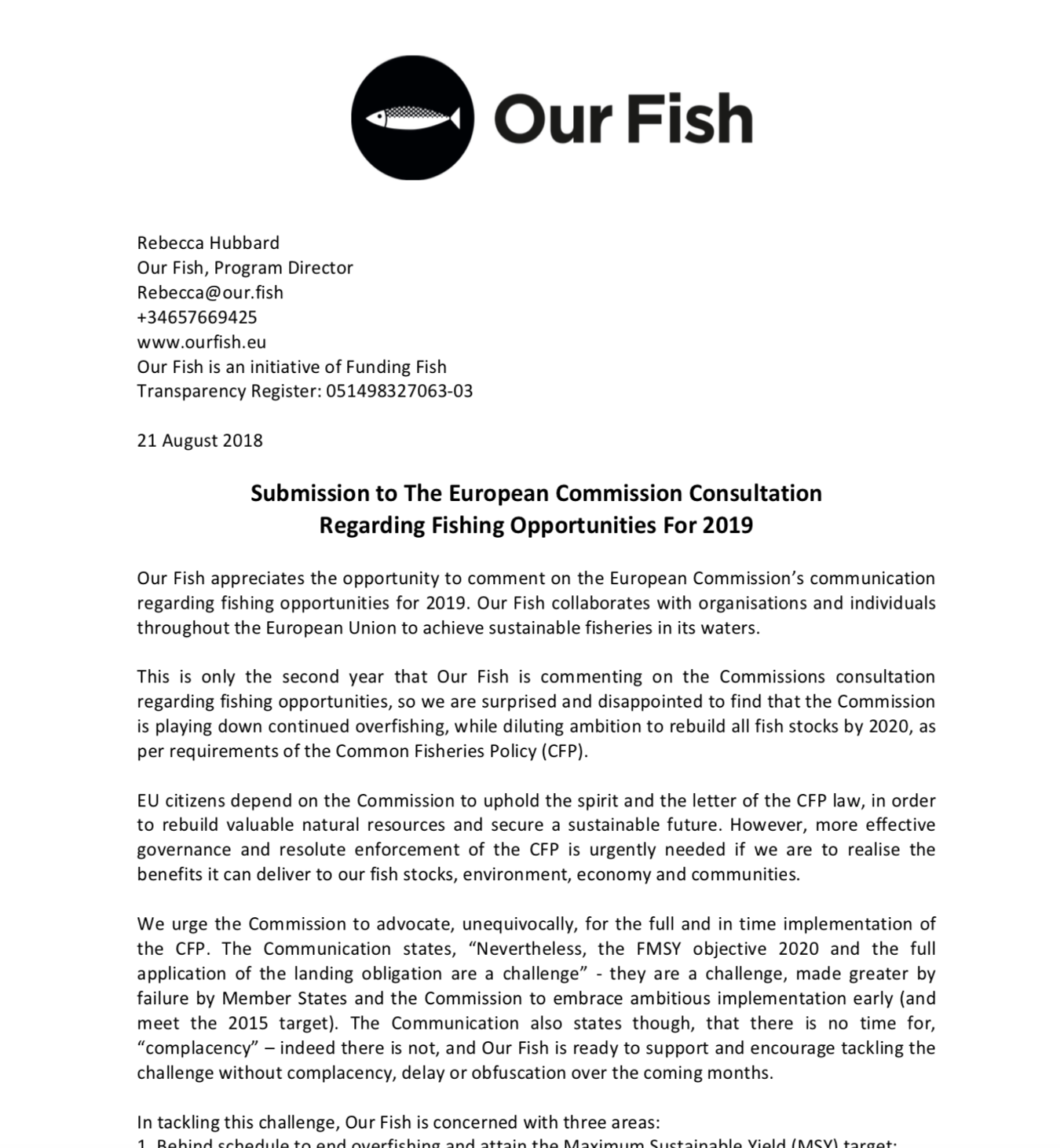 Our Fish Submission to The European Commission Consultation Regarding Fishing Opportunities For 2019