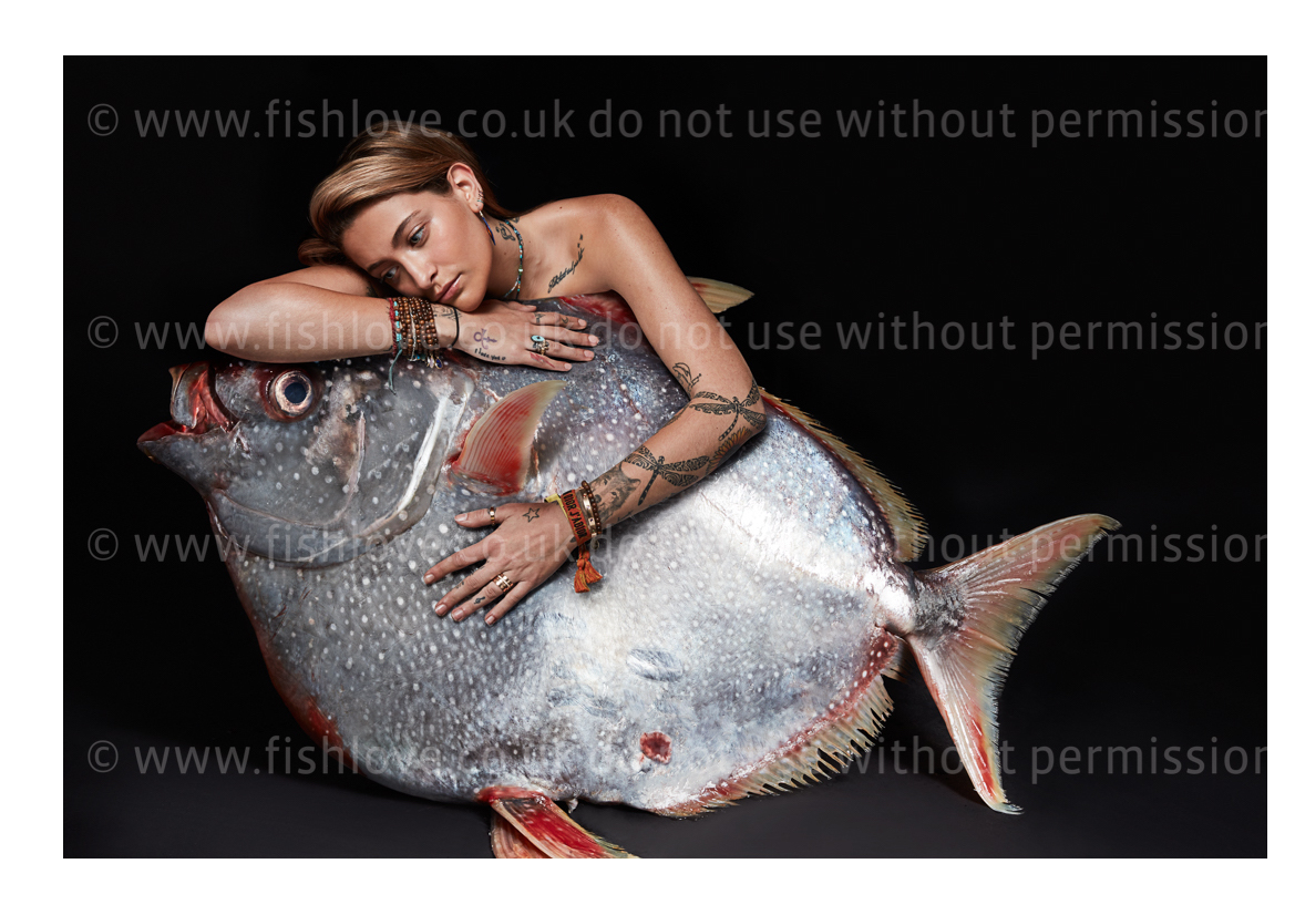 Paris Jackson: Celebrities and actors pose with fish in a courageous call on EU governments for bold action to #EndOverfishing in Europe's waters by 2020. © Fishlove/Alan Gelati.