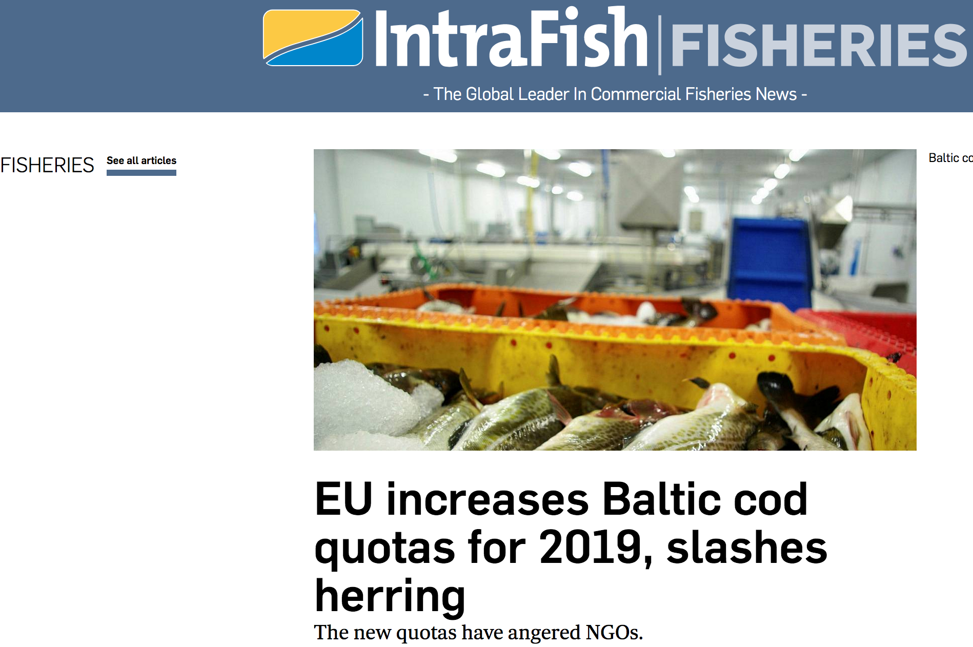 EU increases Baltic cod quotas for 2019, slashes herring