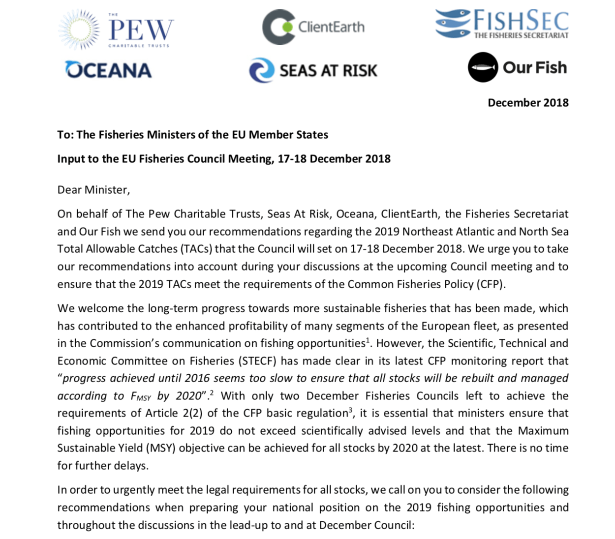 Joint NGO recommendations for 2019 total allowable catches For selected Northeast Atlantic and North Sea stocks, December 2018