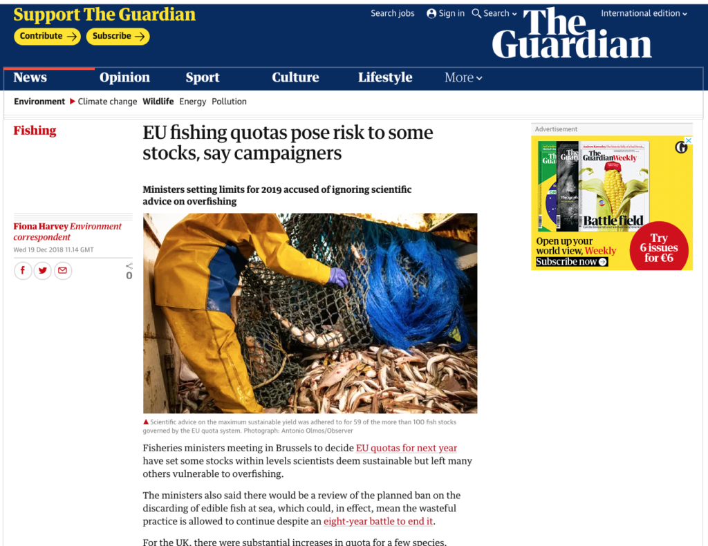The Guardian: EU fishing quotas pose risk to some stocks, say campaigner