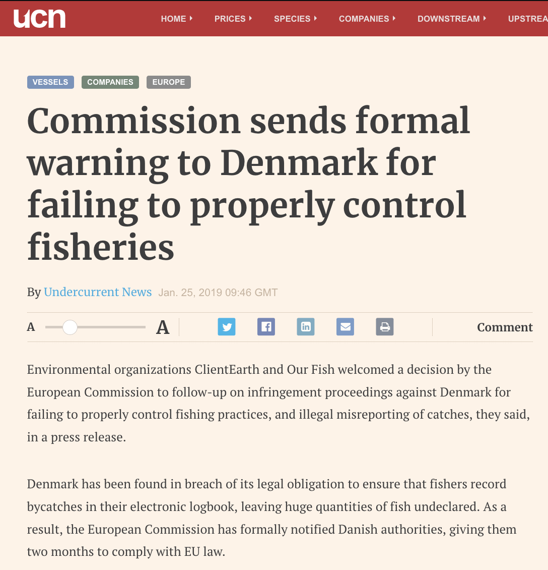Commission sends formal warning to Denmark for failing to properly control fisheries