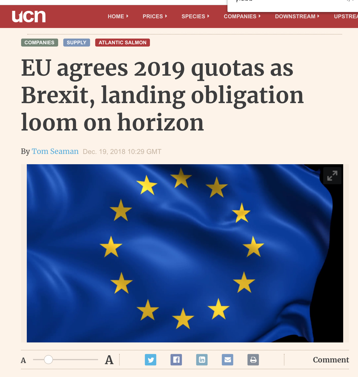 Undercurrent: EU agrees 2019 quotas as Brexit, landing obligation loom on horizon