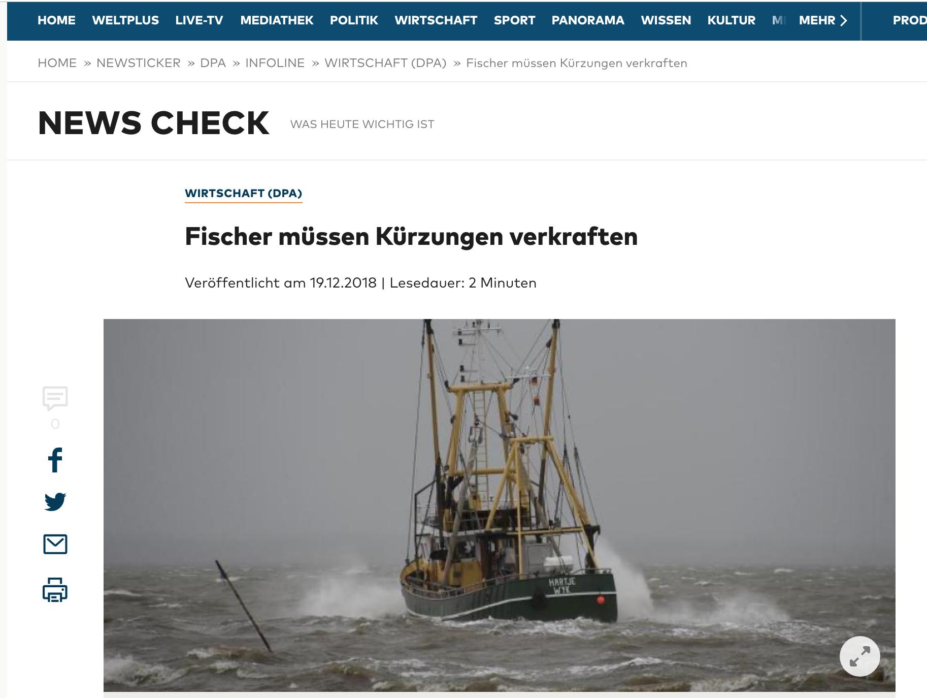 Fischer müssen Kürzungen verkraften