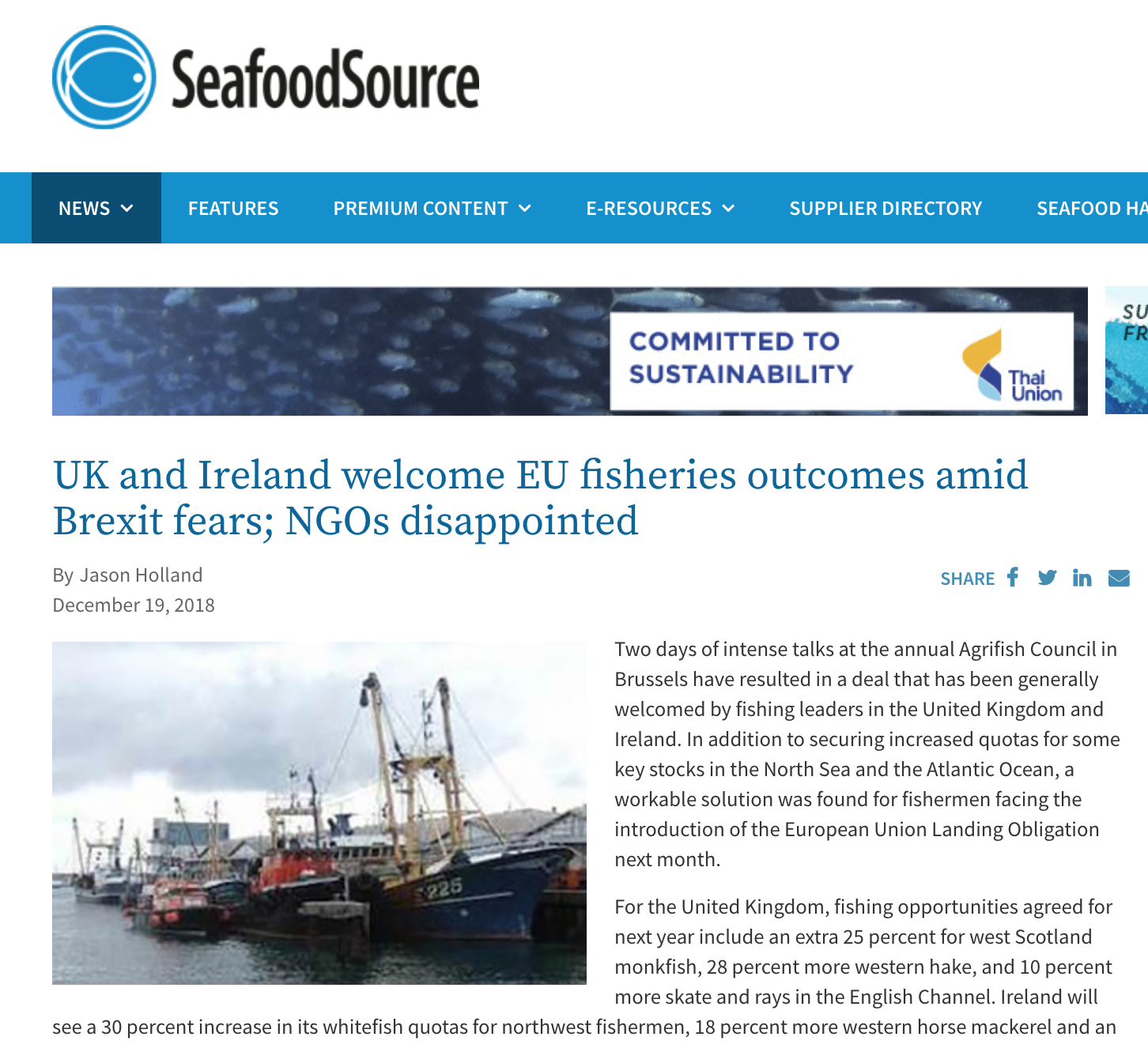 UK and Ireland welcome EU fisheries outcomes amid Brexit fears; NGOs disappointed