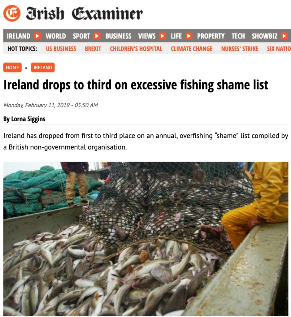 Irish Examiner: Ireland drops to third on excessive fishing shame list