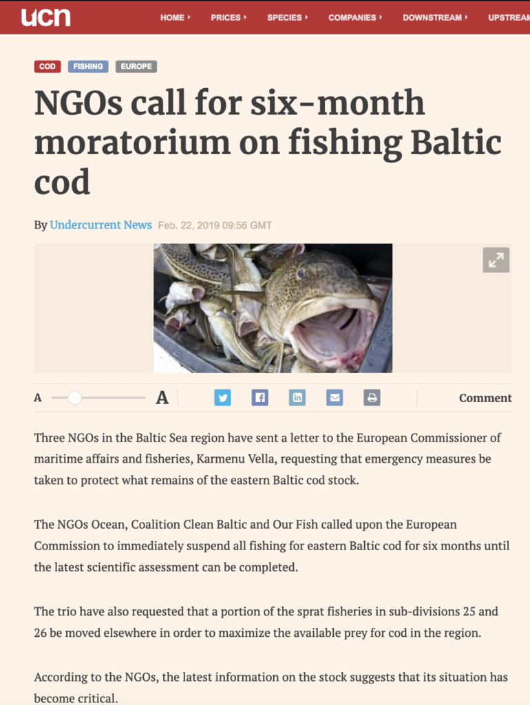 NGOs call for six-month moratorium on fishing Baltic cod