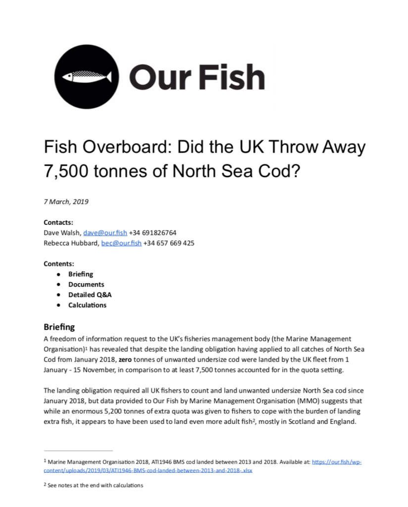 Fish Overboard: Did the UK Throw Away 7,500 tonnes of North Sea Cod?