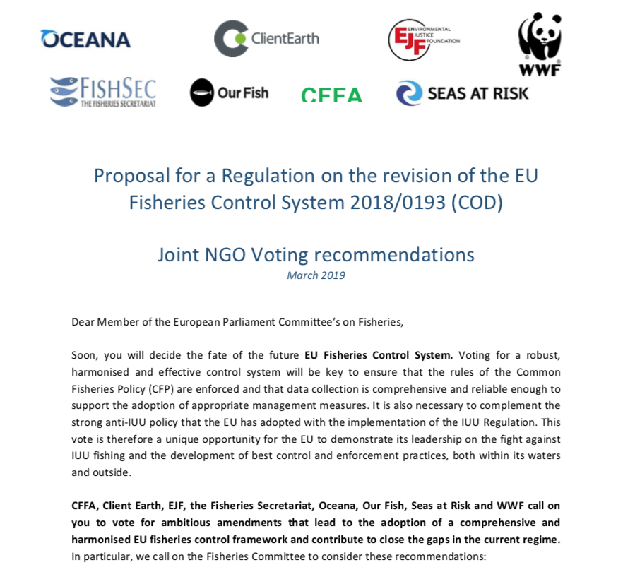 Proposal for a Regulation on the revision of the EU Fisheries Control System 2018/0193 (COD)