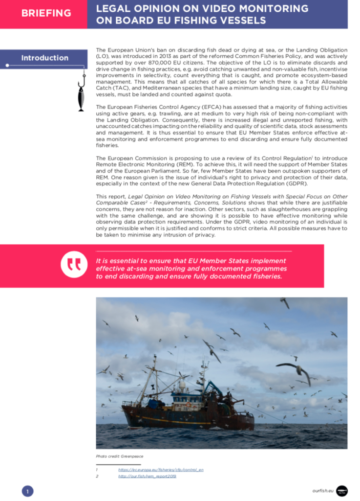 New Report Shows Ending EU Overfishing and Protection of Privacy Achievable With Remote Electronic Monitoring