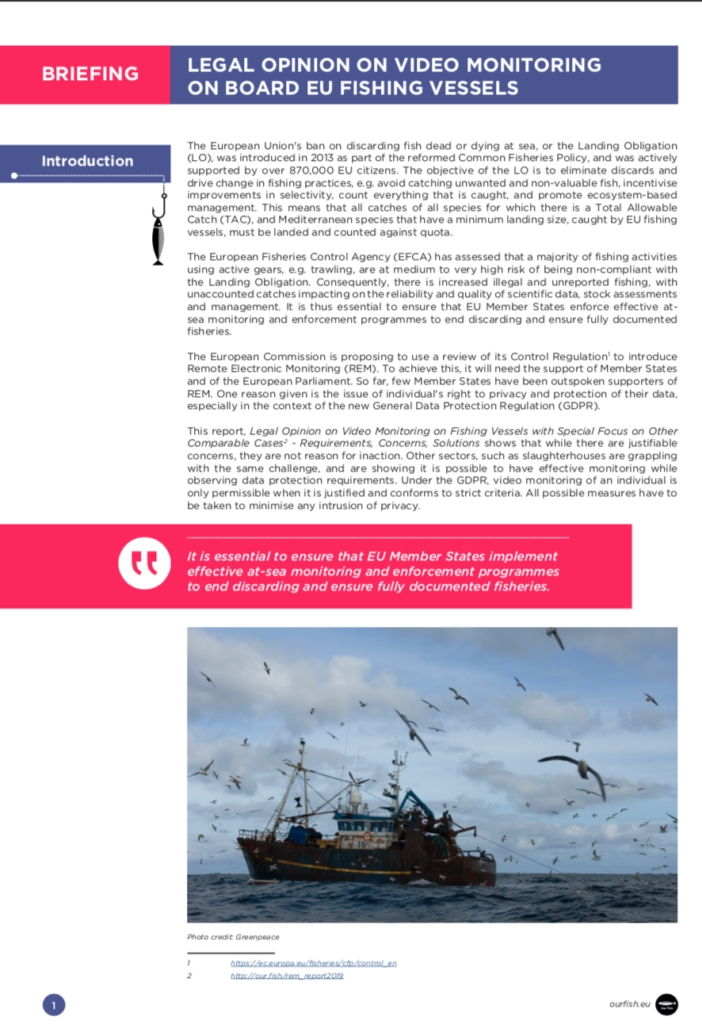 Briefing: Legal Opinion on Video Monitoring on board EU Fishing Vessels