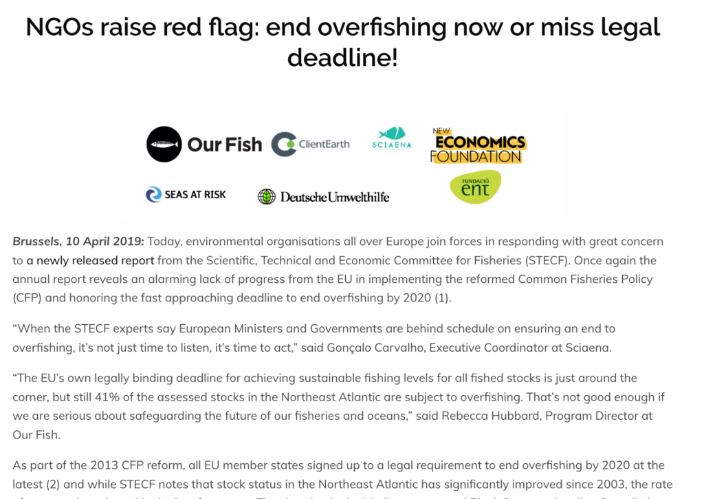 NGOs raise red flag: end overfishing now or miss legal deadline!