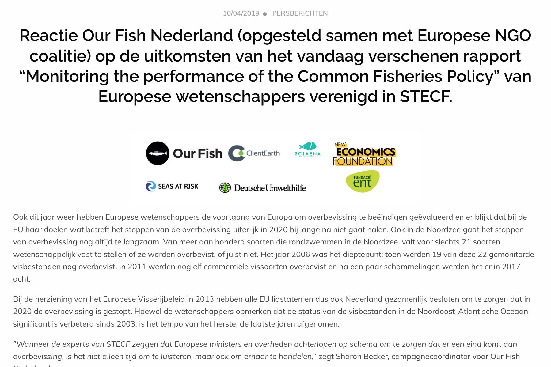 """Reactie Our Fish Nederland (opgesteld samen met Europese NGO coalitie) op de uitkomsten van het vandaag verschenen rapport """"Monitoring the performance of the Common Fisheries Policy"""" van Europese wetenschappers verenigd in STECF."""