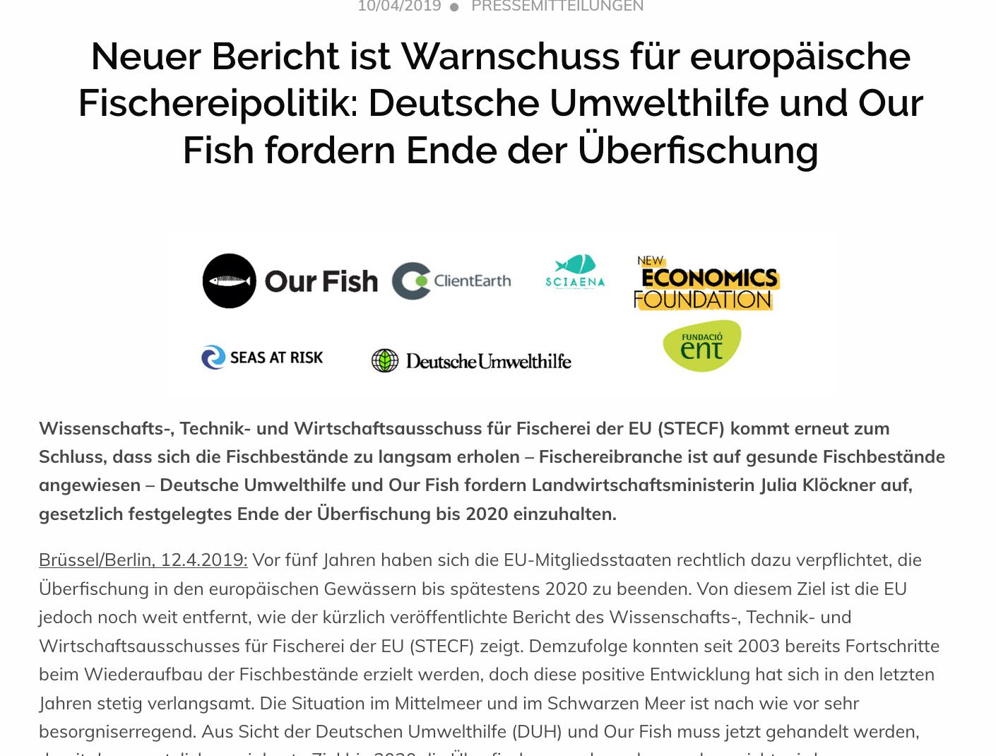 Neuer Bericht ist Warnschuss für europäische Fischereipolitik: Deutsche Umwelthilfe und Our Fish fordern Ende der Überfischung