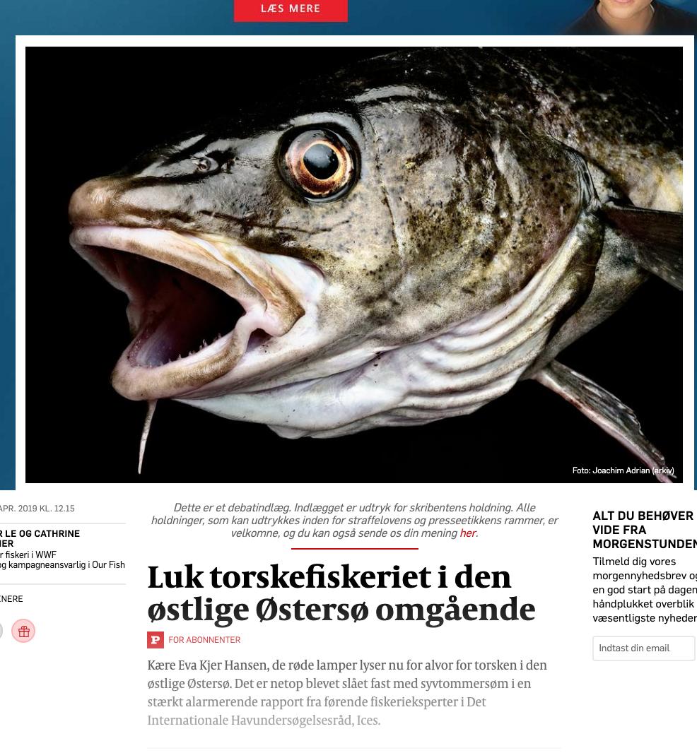 Luk torskefiskeriet i den østlige Østersø omgående