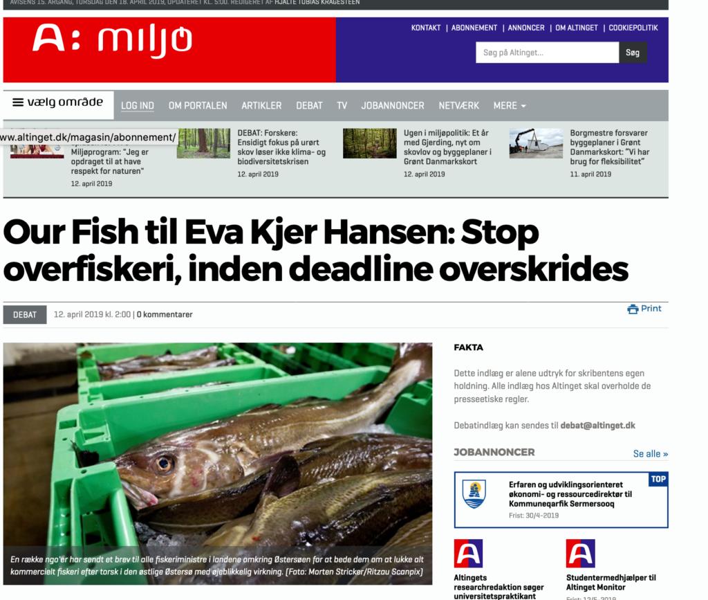 Our Fish til Eva Kjer Hansen: Stop overfiskeri, inden deadline overskrides
