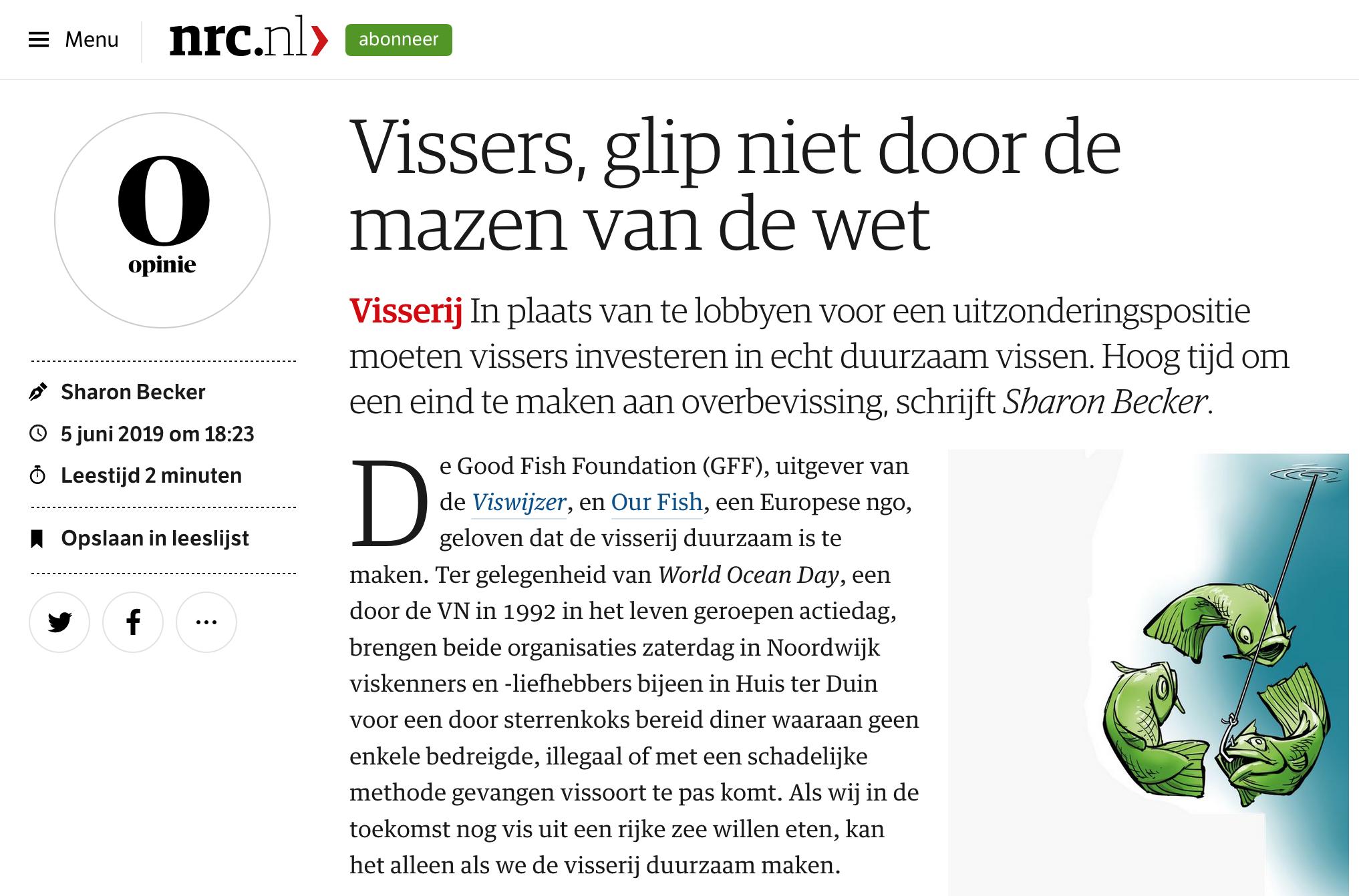 NRC.nl: Vissers, glip niet door de mazen van de wet