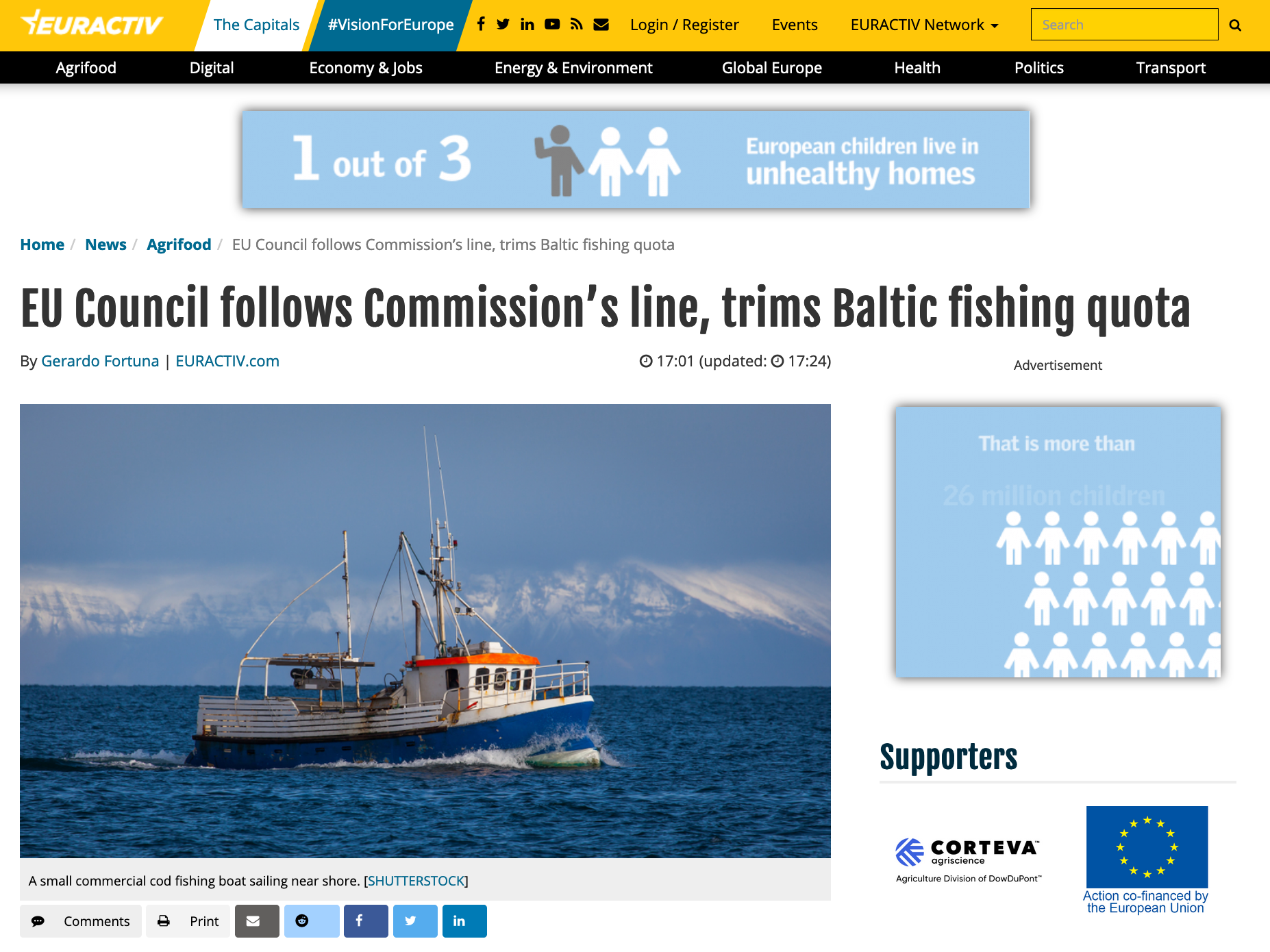 EU Council follows Commission's line, trims Baltic fishing quota