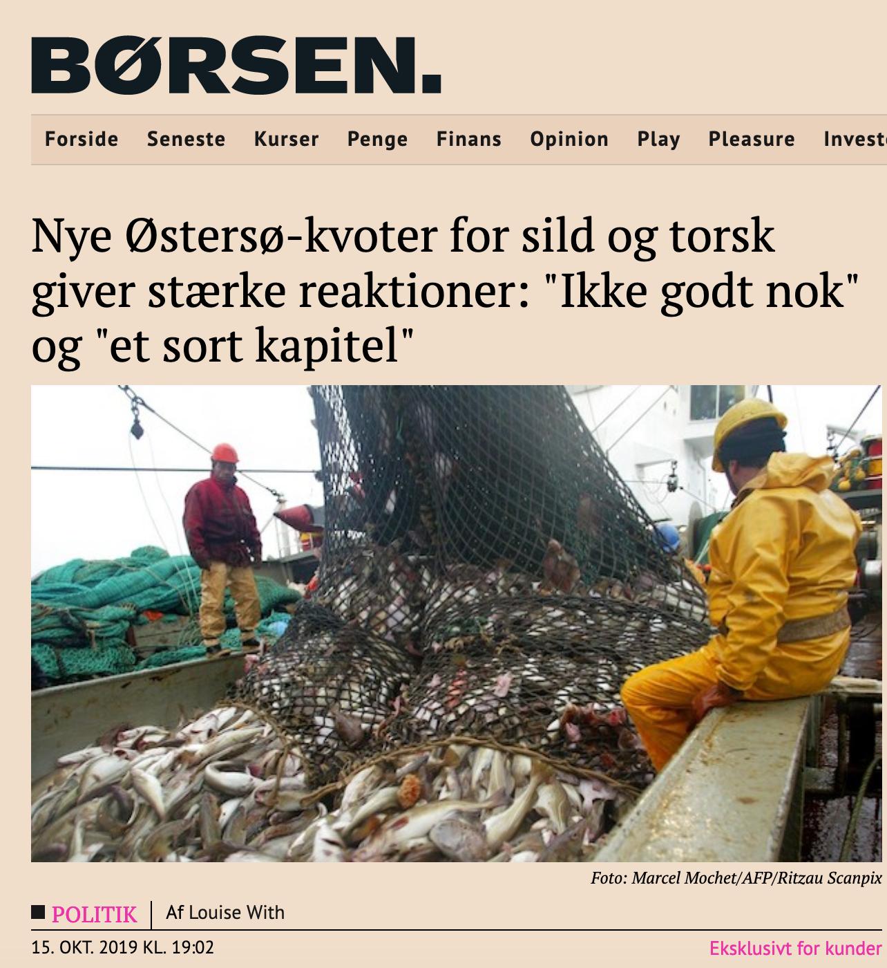 """Nye Østersø-kvoter for sild og torsk giver stærke reaktioner: """"Ikke godt nok"""" og """"et sort kapitel"""""""