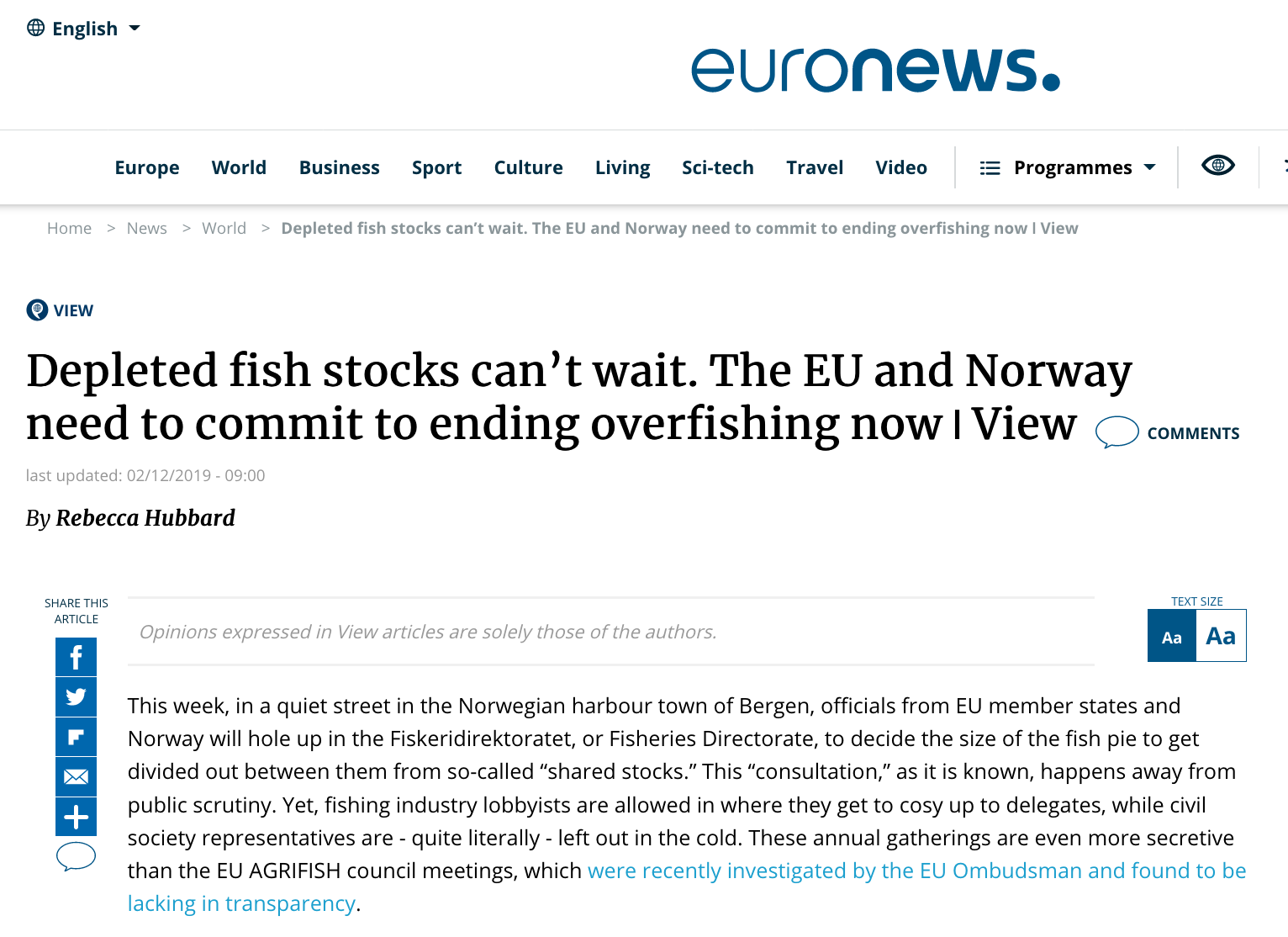 View Depleted fish stocks can't wait. The EU and Norway need to commit to ending overfishing now ǀ View