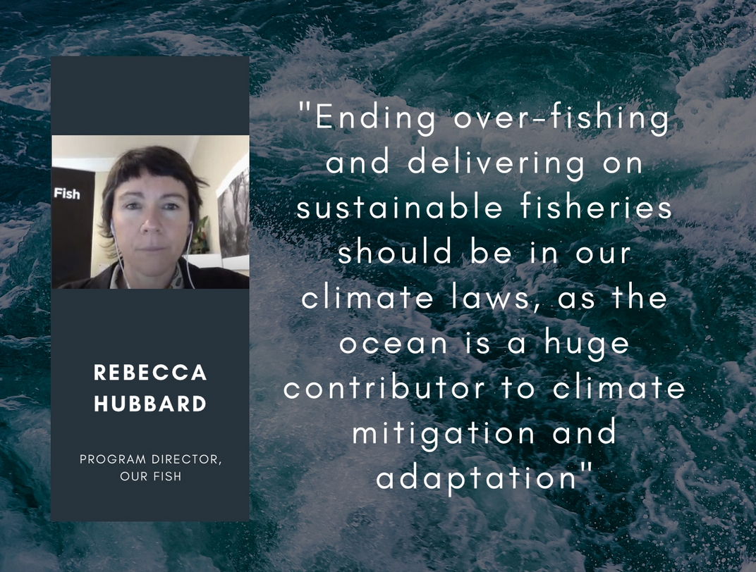 "Rebecca Hubbard: ""Ending overfishing & delivering on sustainable fisheries should be in our #climate laws, as #ocean is a huge contributor to climate mitigation & adaptation"""
