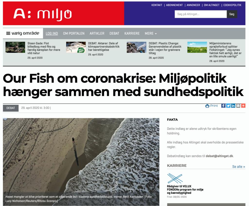 Our Fish om coronakrise: Miljøpolitik hænger sammen med sundhedspolitik