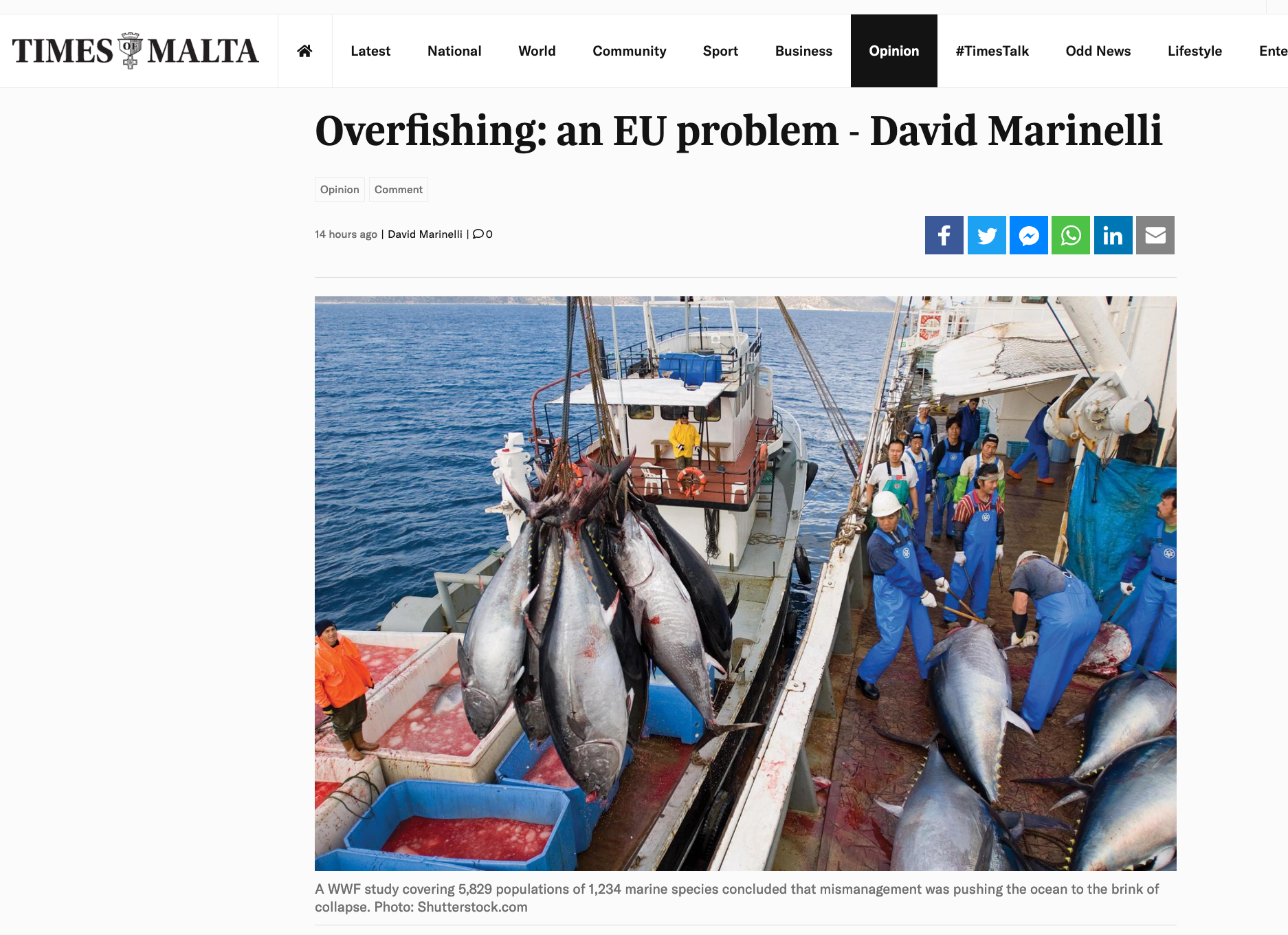 Times of Malta: Overfishing: an EU problem - David Marinelli