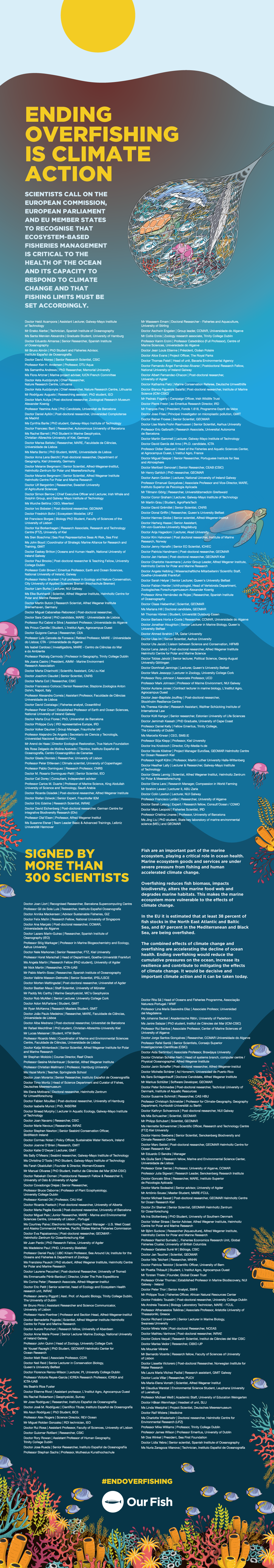 Ending Overfishing is Climate Action - 300 Scientists Calling for EU to End Overfishing - Signatures