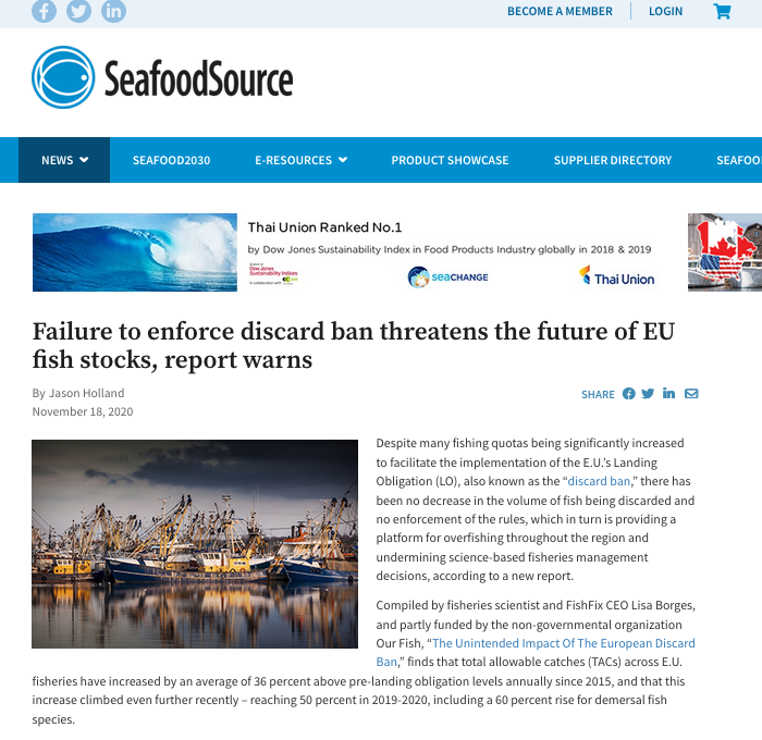 Failure to enforce discard ban threatens the future of EU fish stocks, report warns