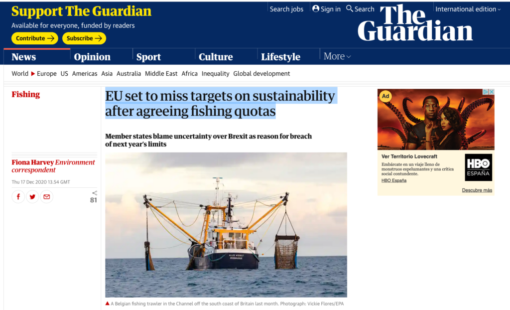 EU set to miss targets on sustainability after agreeing fishing quotas