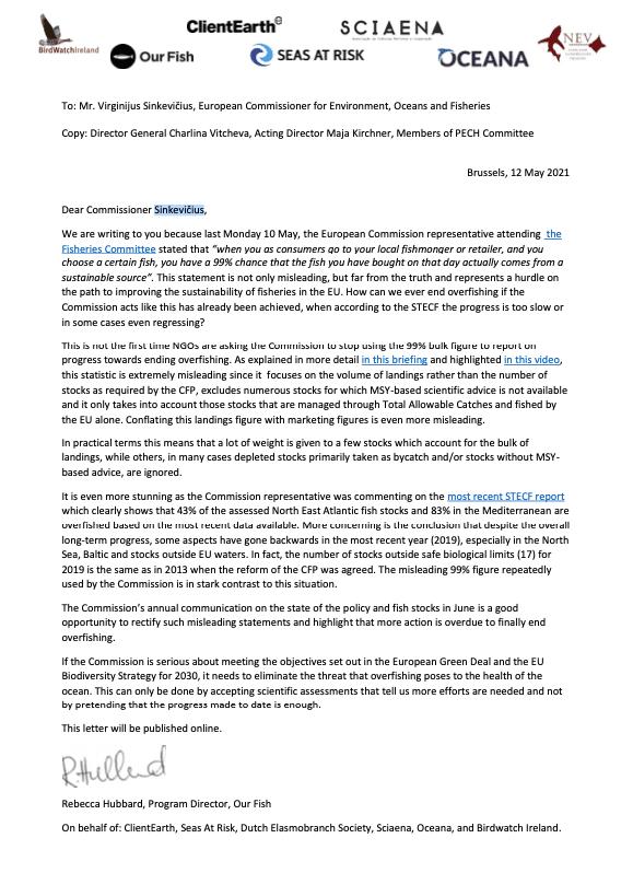 letter to Commissioner Sinkevičius on misleading statements