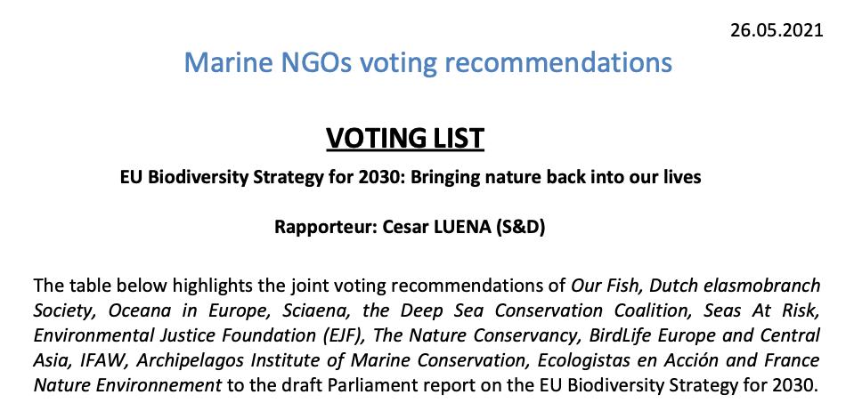 Marine NGOs voting recommendations 2021 EU Biodiversity 2030